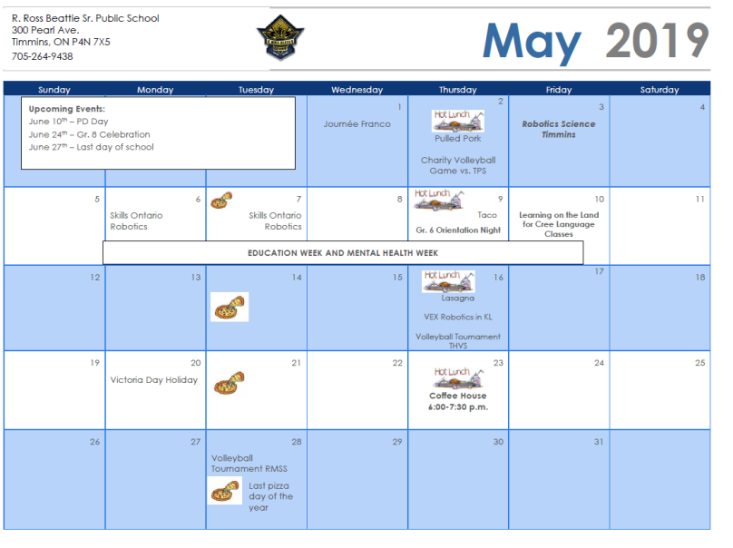 Tps Calendar.May Calendar R Ross Beattie Sr Public School